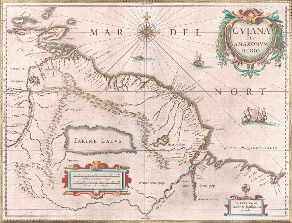 Historische Karte von Guiana und der Amazonas-Region von 1649