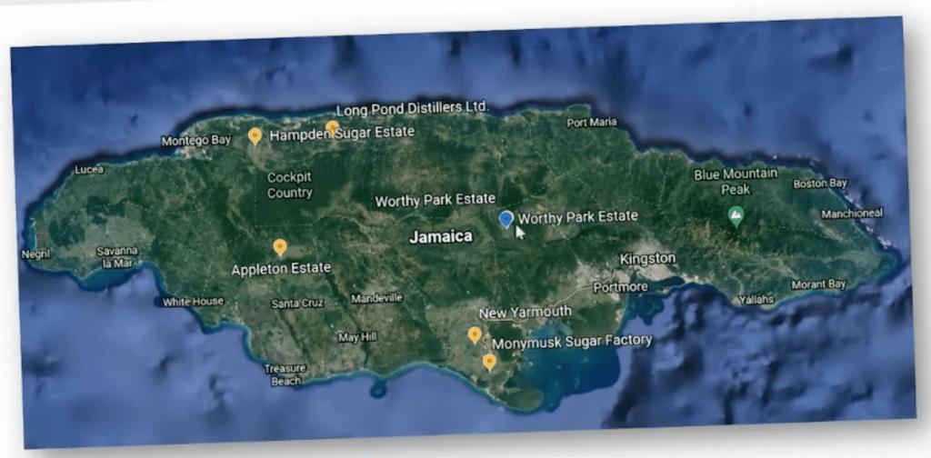 Jamaika Karte mit Destillerien